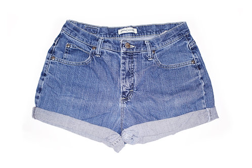 Vintage Lee Medium Wash High Rise Cuffed Shorts - 29/30