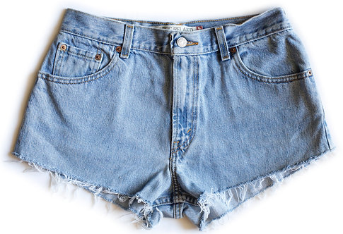 Vintage Levi's Light/Medium Blue Wash High Waisted / Rise Cut Offs Denim / Jean Shorts