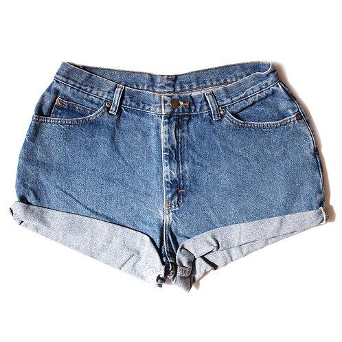 Vintage Chic Medium Wash High Rise Cuffed Shorts - 30