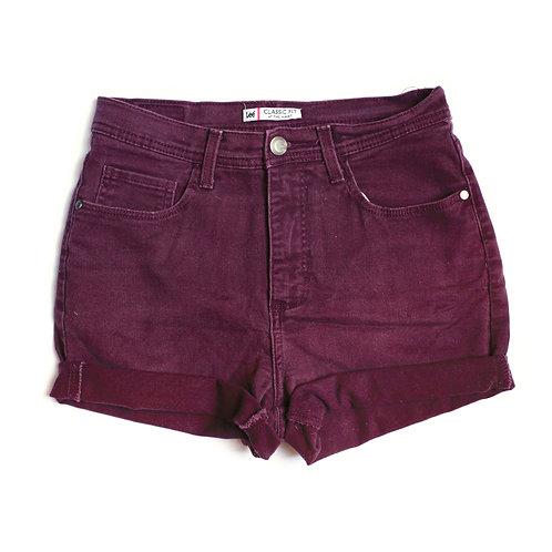 Vintage Lee Purple Burgundy Maroon High Waisted Rise Cuffed Stretch Denim / Jean Cuffed Shorts