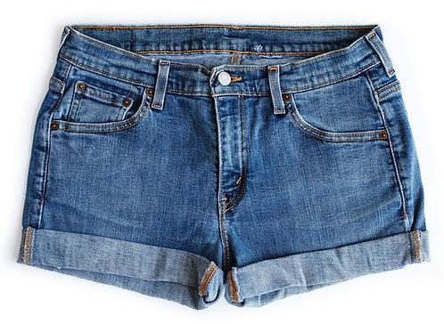 Vintage Levi's Medium Blue Wash Mid-High Rise Cuffed Shorts - 29