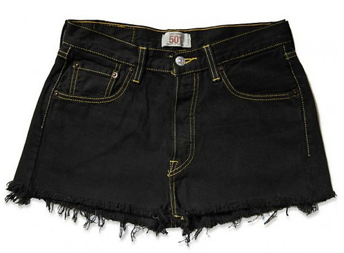 Vintage Levi's Black High Waisted Cut Off Shorts - 27