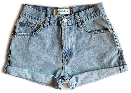 Vintage Levi's Light Wash High Rise Cuffed Denim Shorts – 26/27