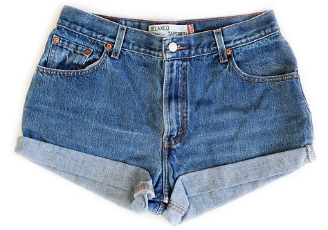 Vintage Levi's Medium/Dark Blue Wash High Rise Cuffed Shorts - Sz 31