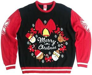 "Vintage Ugly Christmas Sweater Party ""Merry Christmas"" Pullover - XXL"