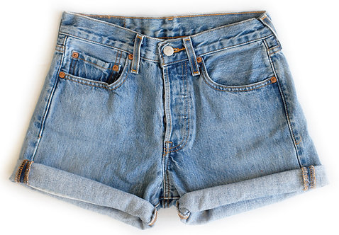Vintage Levi's Button Fly 502s High Rise Cuffed Shorts - Front
