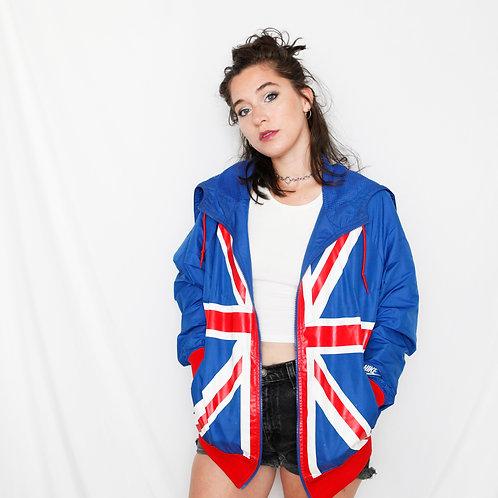Vintage Nike UK Flag Red White & Blue Windbreaker Jacket - M