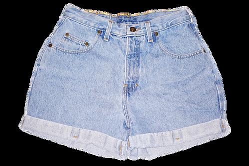 Vintage Express Light Blue Wash High Rise Factory Cuffed Shorts - Sz 27/28