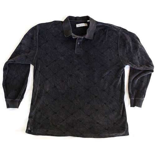 Vintage 90s Velour Patterned Long Sleeve Shirt - L