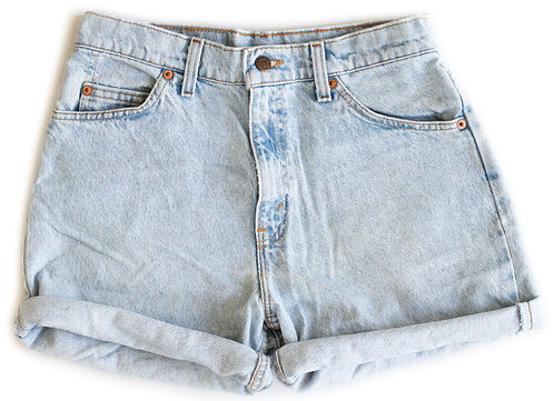 Vintage Levi's Light Blue Wash High Rise Cuffed Shorts - Sz 29