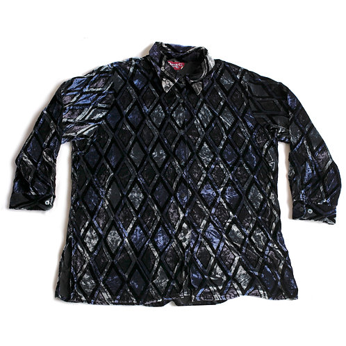 Vintage 90s/Y2k Iridescent Velour Velvet-like Blue and Black Diamond Printed Collared Long Sleeve Button Up Shirt - XXL