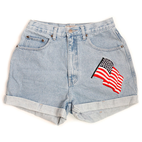 Vintage High Rise Americana Flag Embroidered Cuffed Shorts - 26/27