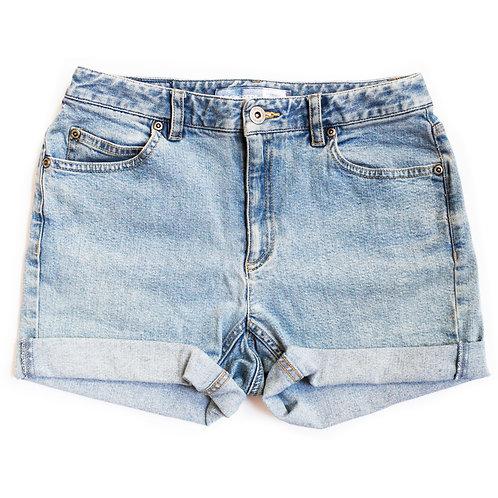 Vintage Liz Claiborne Light Blue Wash Mid Waisted Rise Cuffed Stretch Denim Jean Shorts  25/26