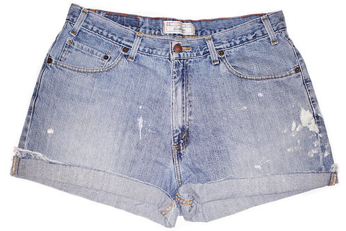 Vintage Levi's Light/Medium Wash High Rise Cuffed Shorts - Sz 36/37
