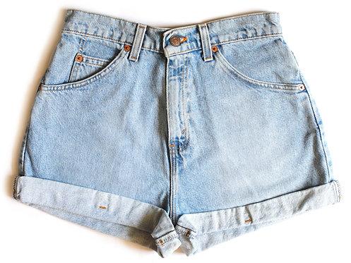 Vintage Levi's Light/Medium Blue Wash High Waisted Rise Factory Cuffed Denim / Jean Shorts