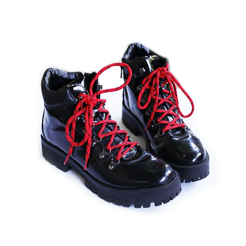 Aura Patent Black Leather Ankle Platform Boots  - 10