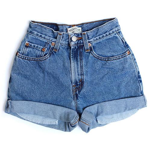 Vintage Levi's High Rise Cuffed Denim Shorts - 21/22