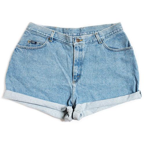 Vintage Lee Light/Medium Blue Wash High Waisted Rise Denim Jean Cuffed Shorts