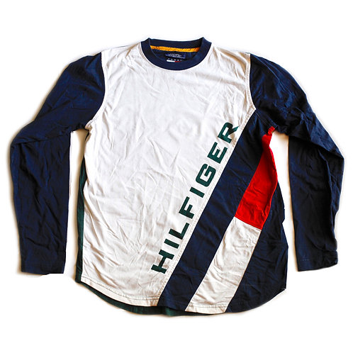 Tommy Hilfiger Logo Spellout Green Blue Red & White Long Sleeved Tee T-Shirt