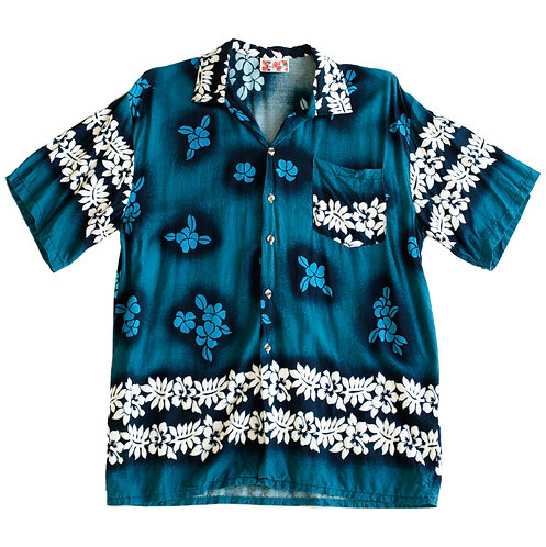 Vintage Y2k Hawaiian Flower Button Up Beach Shirt - M