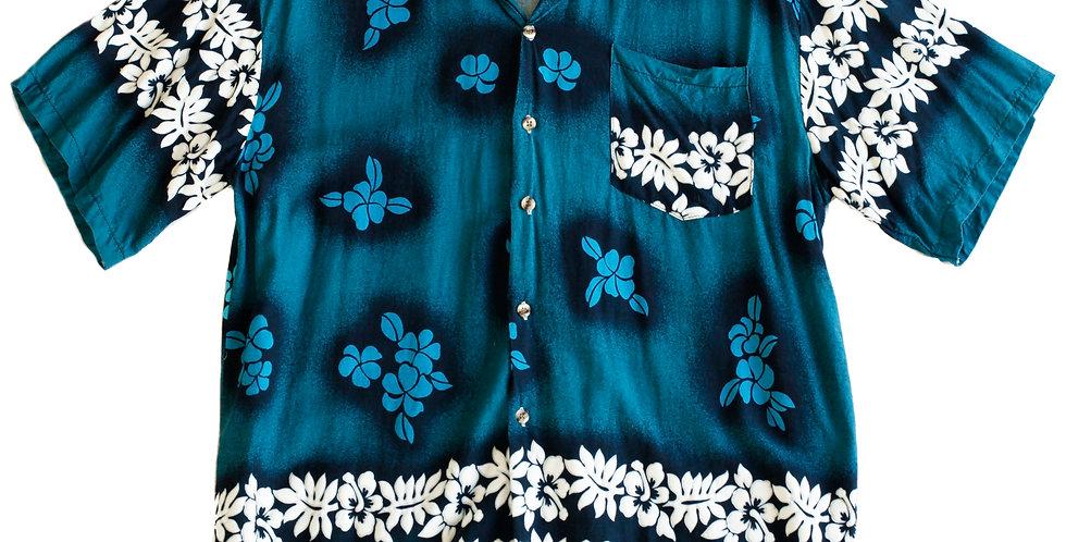 Vintage Y2k Hawaiian Flower Button Up Beach Shirt - M