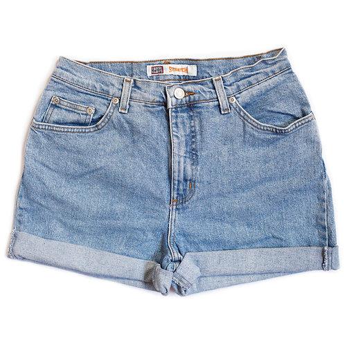 Vintage Light Wash High Rise Cuffed Shorts - 27/28