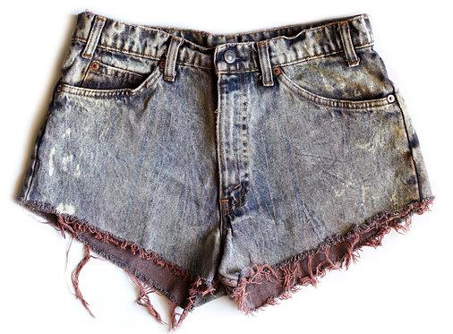 Vintage Levi's Purple Acid Wash High Waisted Rise Cut Offs Denim Jean Shorts