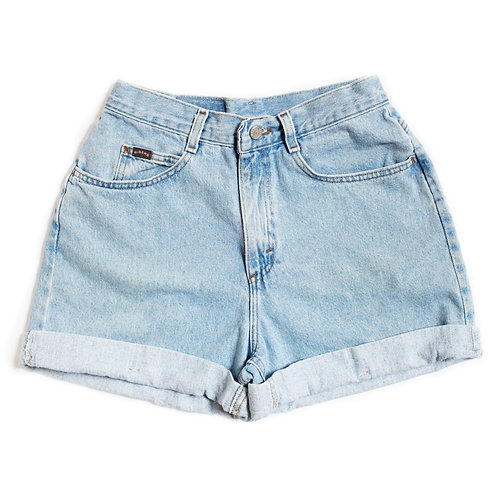 Vintage Lee Light Wash High Rise Factory Cuffed Shorts - 28