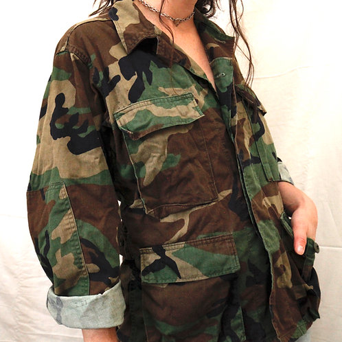 Vintage Authentic Army Camouflage Green, Brown & Black Collared Button Up Jacket