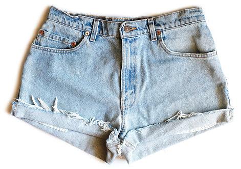 Vintage Levi's Light Wash High Rise Cut Off Denim Shorts - 32