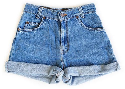 Vintage Levi's Medium Blue Wash High Rise Cuffed Shorts - Sz 22/23