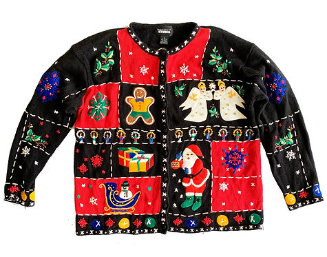 VTG Ugly Christmas Sweater Party Embroidered Button Up Cardigan - 1X