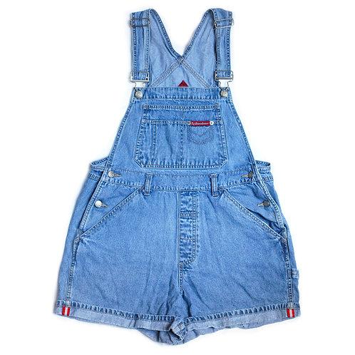 Vintage 90s No Boundaries Carpenter Blue Denim / Jean Shortalls / Overalls / Cuffed Shorts M/L