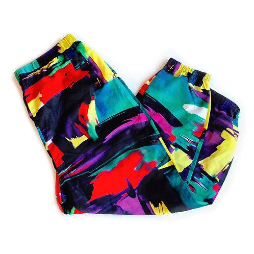 SHEIN 1980s-esque Colorful Black Multicolor Graffiti Lightweight Lounge Windbreaker Jogger Track Pants - 1XL