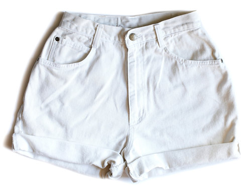 Vintage Off White High Rise Cuffed Denim Shorts – 25