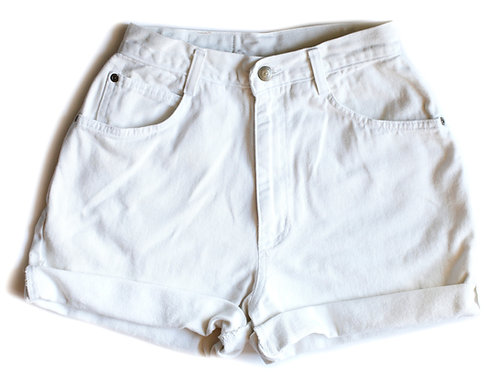 Vintage Off White High Rise Cuffed Denim Shorts – 25