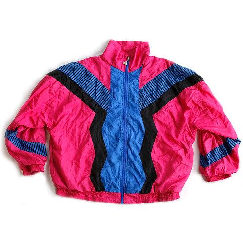 Vintage 80s Hot Pink Blue and Black Color Block Zig Zag Mock Neck Full Zip Windbreaker Jacket - M