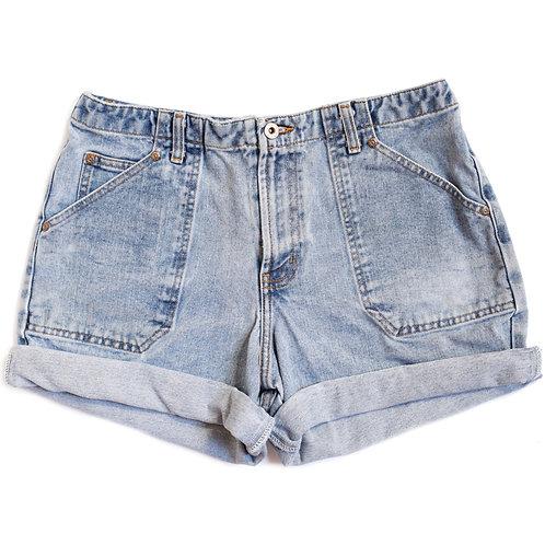 Vintage Light Wash High Rise Cuffed Shorts - 30