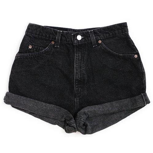 Vintage Levi's Black High Rise Denim Cuffed Shorts - 28/29