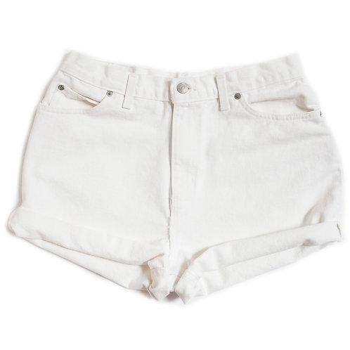 Vintage 90s White High Rise Denim Shorts - 31
