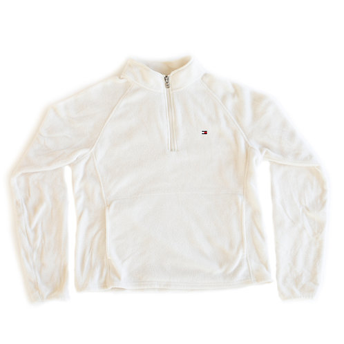 Tommy Hilfiger Embroidered Logo Half Zip Pullover Fleece Off White Sweater