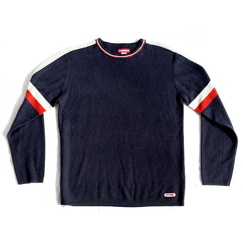 Vintage 90s Union Bay Navy Blue Red and White Varsity Striped Pullover Crew Neck Knit Sweater - M