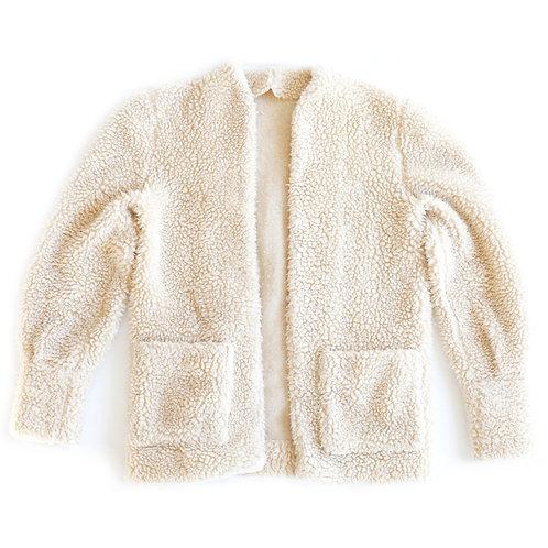 Vintage Faux Sheep Sherpa Fur Beige Off White Fuzzy Teddy Fleece Jacket Sweater W/ Pockets - S