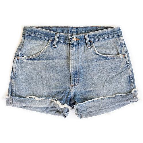 Vintage Rustler Light Wash High Rise Denim Cuffed Shorts - 32/33