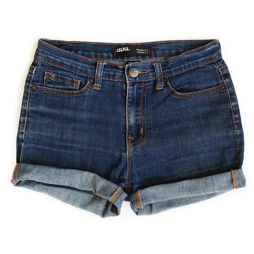 BDG Dark Wash Mid-High Rise Denim Cuffed Shorts - 27