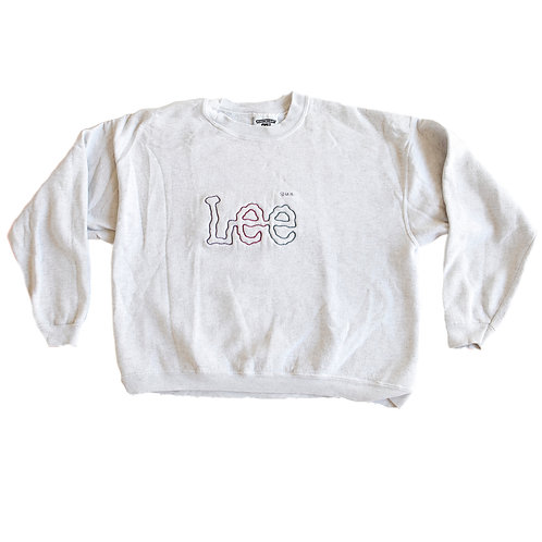 Vintage 90s Lee Jeans Light Heather Gray Multi-Color Embroidered Logo Pullover Crop Spellout Sweatshirt - M