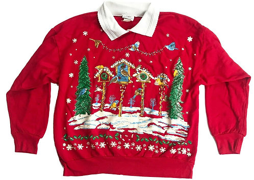 Vintage Ugly Christmas Sweater Party Birds Collared - M