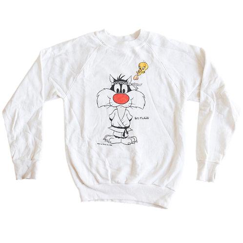 Vintage 1986 Sylvester & Tweety Warner Bros Six Flags White Kids Crew Neck Sweater