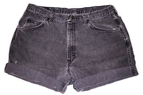 Vintage Black Wash High Rise Cuffed Shorts - Sz 35/36