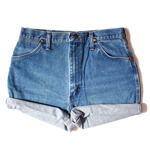 Vintage Wrangler Medium Wash High Rise Cuffed Shorts - 30